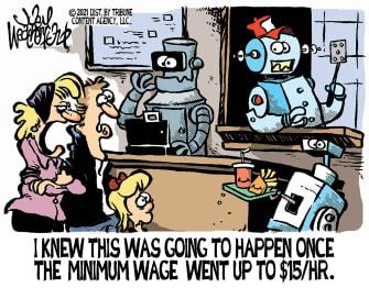 Editorial Cartoon U.S. 15 dollar minimum wage biden