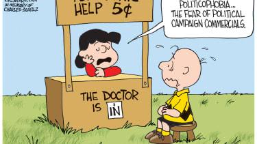 Political cartoon U.S. 2016 election advertisement fatigue