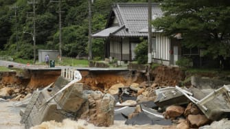 A collapsed road due to heavy rain in Higashihiroshima, Hiroshima prefecture on July 7, 2018.