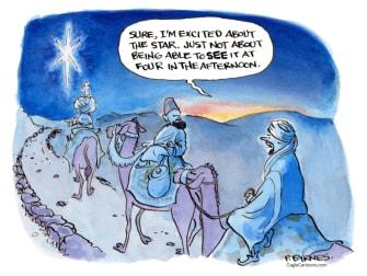 Editorial Cartoon U.S. star early night Christmas