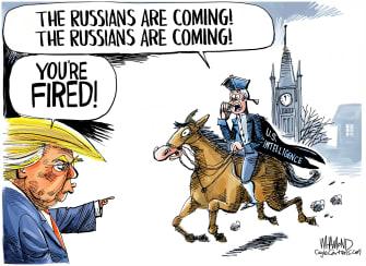 Political Cartoon U.S. Trump Paul Revere Russian meddling