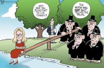 Political Cartoon U.S. liz cheney gop lies