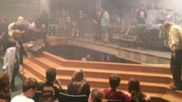 The stage collapse.