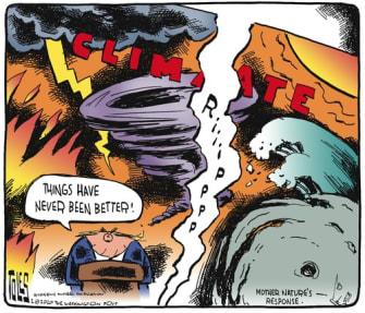 Political Cartoon U.S. Trump climate change lies