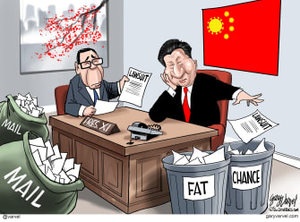 Political Cartoon U.S. sues China XI lawsuit fat chance