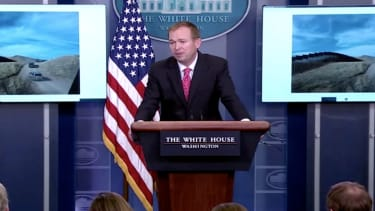 Office of Management and Budget Director Mick Mulvaney at a White House press conference.