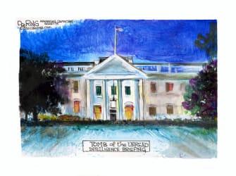 Political Cartoon U.S. Trump White House Russia bounty briefing