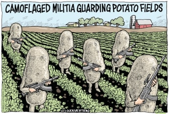 Editorial Cartoon U.S. militia Trump Virginia potatoes