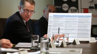 U.S. Trade Representative Robert Lighthizer brandishes a chart on China and trade