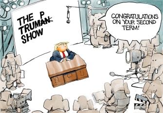 Political Cartoon U.S. Trump Truman Show GOP election loss