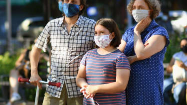 People wearing masks in New York City.