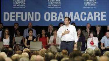 Sen. Ted Cruz (R-Texas) speaks at a Dallas event Tuesday intended to promote his plan to defund ObamaCare.
