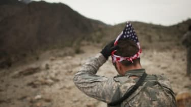 Sgt. Jarod Schroeder searches for a Taliban rocket-launching site: Gen. David Petraeus has stepped down as leader of America's military mission in Afghanistan, so that he can head the CIA.