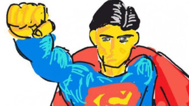 """Superman, as rendered by a talented doodler using the wildly successful Pictionary-like app, """"Draw Something."""""""