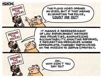 Editorial Cartoon U.S. defund police explanation George Floyd