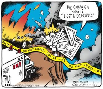 Political Cartoon U.S. Trump 2020 campaign slogan