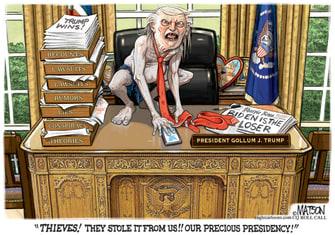 Political Cartoon U.S. Trump Gollum Lord of the Rings