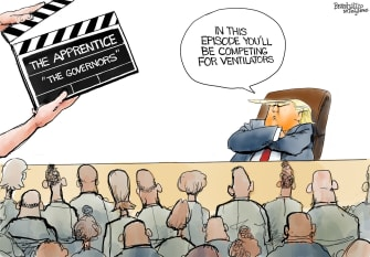 Political Cartoon U.S. Trump new season Apprentice governors compete for ventilators
