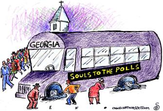 Political Cartoon U.S. Georgia voters flat tire