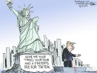 Editorial Cartoon U.S.Trump TikTok China Buyout security