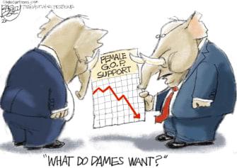 Political Cartoon U.S. GOP female voters