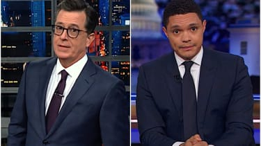 Trevor Noah and Stephen Colbert side with the U.S. intelligence chiefs over Trump