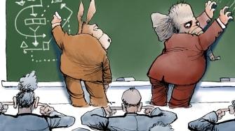 Political Cartoon U.S. Case Against Impeachment GOP Nails On Chalkboard