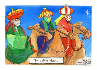 Editorial Cartoon U.S. COVID Christmas three wise men