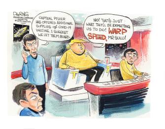 Political Cartoon U.S. Trump vaccine Pfizer Star Trek operation warp speed