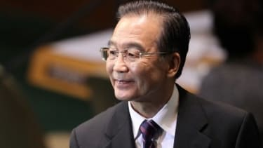 Chinese Premier Wen Jiabao, seen here at the United Nations General Assembly meeting, says Japan should bear full responsibility for the dispute.