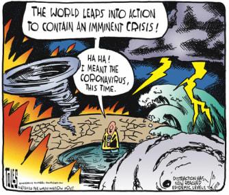 Editorial Cartoon World Coronavirus COVID-19 climate crisis disaster response reporting