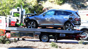 The car Tiger Woods was driving on Tuesday morning.