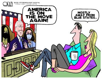 Political Cartoon U.S. biden address spending census