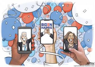 Political Cartoon U.S. Biden Harris virtual DNC