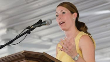 Alison Lundergan Grimes speaks at the 131th annual Fancy Farm Picnic on Aug. 6, 2011 in Fancy Farm, Ky.