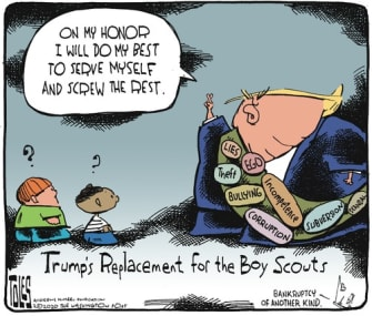 Political Cartoon U.S. Boy Scouts Trump honor code