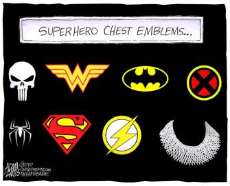 Editorial Cartoon U.S. Ginsburg superheroes
