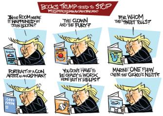 Political Cartoon U.S. Trump bolton stopped books