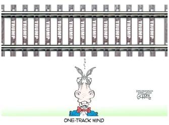 Political Cartoon U.S. democrats trump