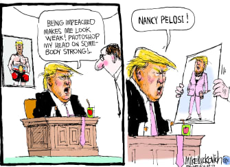 Political Cartoon U.S. Trump Rocky Tweet Impeachment Nancy Pelosi