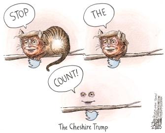 Political Cartoon U.S. Trump vote count cheshire cat