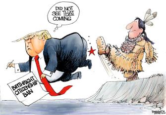 Political cartoon U.S. Trump birthright citizenship ban Native Americans
