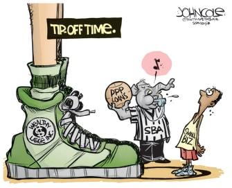 Political Cartoon U.S. tip off time big vs small business no match basketball PPP loans