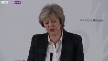 """U.K. Prime Minister Theresa May reassures members of the EU they are still """"welcome"""" in Britain."""