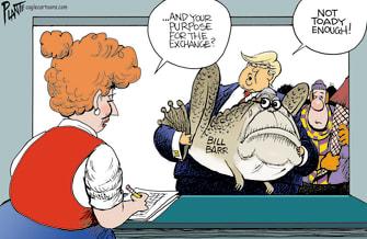 Political Cartoon U.S. Trump Bill Barr Resigns Holiday Returns