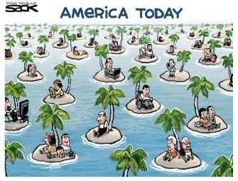 Editorial Cartoon U.S. Coronavirus COVID-19 America response social distancing islands