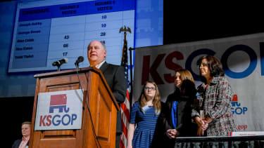 Republican Ron Estes won, but narrowly.