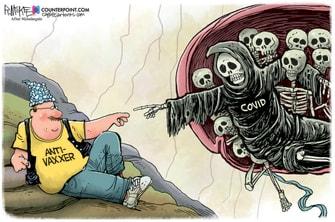 Editorial Cartoon U.S. anti vaxxers sistine chapel covid