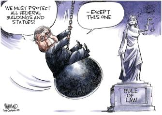 Political Cartoon U.S. Bill Barr statues law