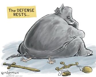 Political Cartoon U.S. Trump Republicans Congress impeachment acquittal justice truth squashed